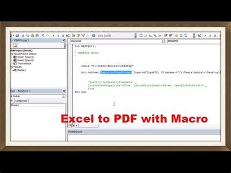 Save Excel Sheet as PDF with Simple Macro - ExcelVbaIsFun